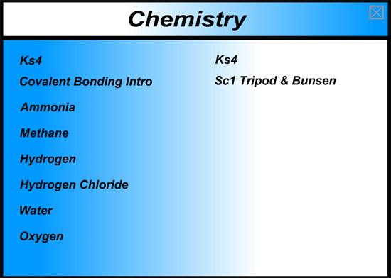 Chemistry Menu